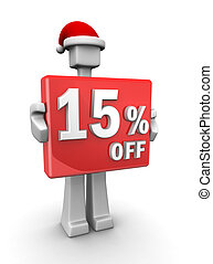 Christmas sales concept a man wearing santa hat showing 15 percent off signboard 3d illustration