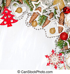Christmas celebration still life with free space for text, isolated on white background