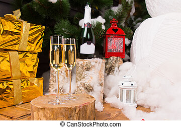 Christmas celebration with champagne