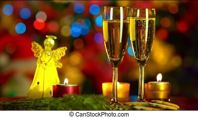 christmas celebration with two champagne glasses