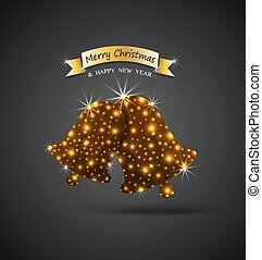 Christmas celebrations greeting card with shiny golden...