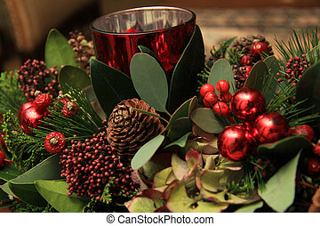 Christmas centerpiece in red and green