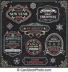Christmas Chalkboard Vector Labels