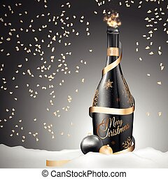 Christmas champagne bottle with gold ribbon and balls
