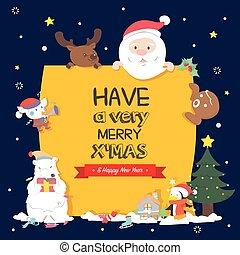 Christmas character holding christmas board