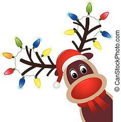 Christmas character Rudolph with light. Head of Happy reindeer with red nose