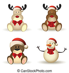 Christmas characters - abstract cute christmas characters ...