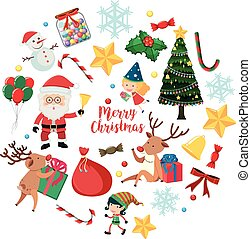 Christmas characters and ornaments on white background