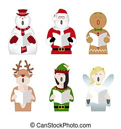 christmas characters carol singing