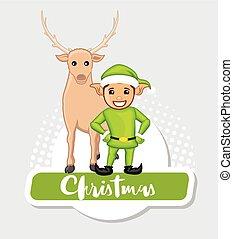 Christmas Characters Elf and Deer