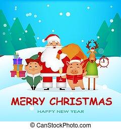. Santa Claus, Santa helper Elf, deer, piggy. - Christmas...