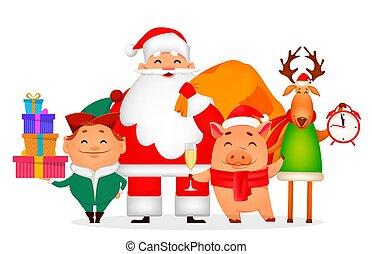 Santa Claus, Santa helper Elf, deer, piggy. - Christmas...