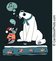 Christmas characters, penguin talking to polar bear with headphones