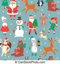 Christmas characters seamless pattern vector illustration. Christmas deer, santa claus, snowman and elf with penguin. Childish background for fabric, wrapping paper.