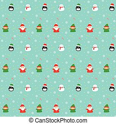 Christmas Characters Seamless Pattern Vector On Blue Background