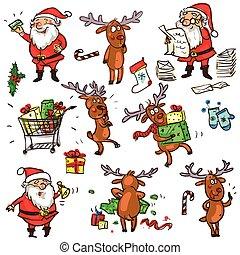 Christmas characters - set - Christmas characters, cartoon...