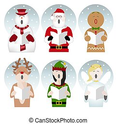 christmas characters singing in the snow