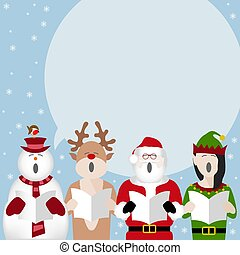 christmas characters singing poster
