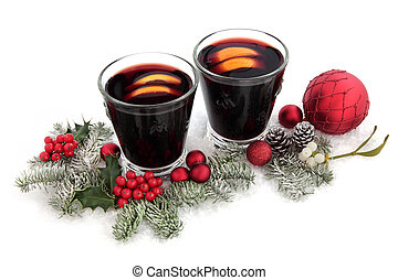 Christmas Cheer - Christmas mulled wine with red bauble...