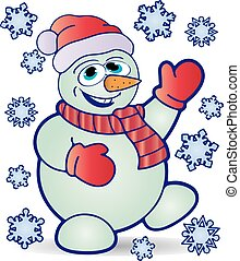 Christmas cheerful snowman in hat and mittens, and around fly snowflakes, cartoon on white background,