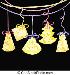 Christmas cheese tree. New year greeting card 2020. Watercolor drawing piece of triangular yellow cheese. Mouse favorite food. Illustration on black background