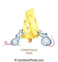 Christmas cheese tree with rat. New year greeting card 2020. Watercolor drawing piece of triangular yellow cheese. Mouse favorite food. Illustration on white background