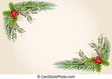 Christmas cherries frame vector