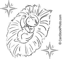Christmas child and star line-art