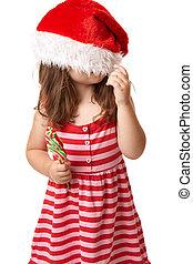Christmas child with santa hat