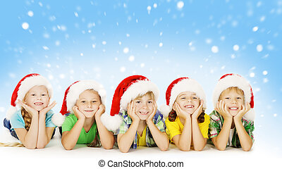 Christmas Children In Santa Helper Hat, Little Kids