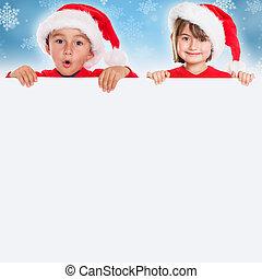 Christmas children kids card Santa Claus square empty banner...