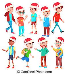 Christmas Children Set Vector. Santa Hat. Boys And Girls....