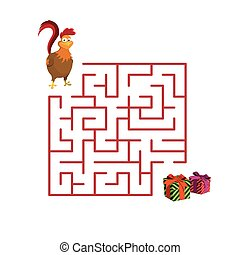 Christmas children's game: rooster in the maze. Help cock to get out of the labyrinth