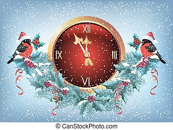 Christmas chimes with bullfinch in santa hat and decorative garland in retro style
