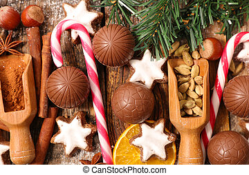 christmas chocolate, cookie and spices