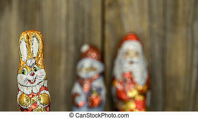 Christmas chocolate figures in a wrapper