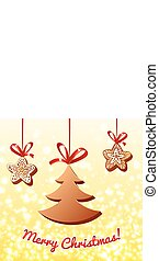 Christmas chocolate on the lights background