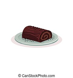 Christmas chocolate roll cake, traditional festive dessert vector Illustration on a white background