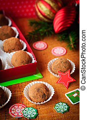 Christmas Chocolate Truffles in a Gift Box, Christmas Decorations, vintage effect, copy space for your text