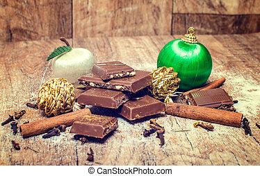Christmas chocolate with cinnamon