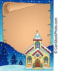 Christmas church building parchment 1 - eps10 vector ...