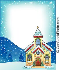 Christmas church building theme frame 1 - eps10 vector ...