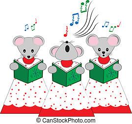 Christmas Church Mice - A vector illustration of three mice...