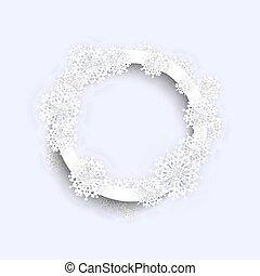 Christmas Circle Frame with Snowflakes