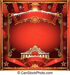 Christmas circus greeting card - A circus vintage square...