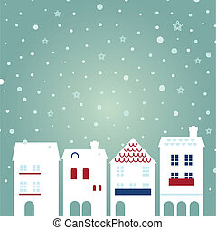 Christmas city on snowing background