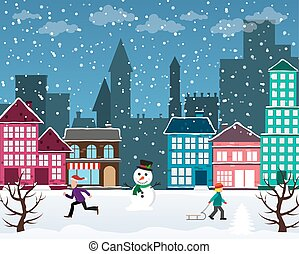 Christmas city - Winter Christmas urban landscape. View of...
