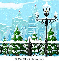 Christmas city winter landscape