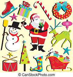 Christmas Clipart - Cute selection of Christmas elements and...