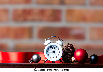 Christmas clock and ribbon